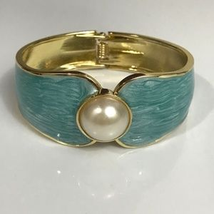 Jewelry - Blue enamel cuff hinged bracelet with pearl accent